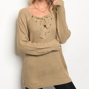 Sweaters - Tan Lace up front sweater